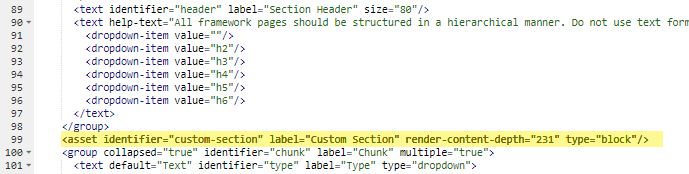 code for asset identifier for custom section