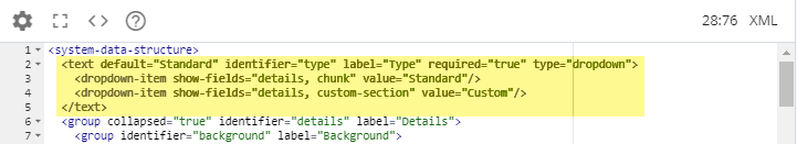custom section in section drop-down code