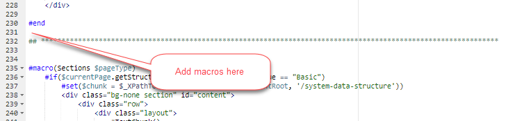 space for adding new custom section macros