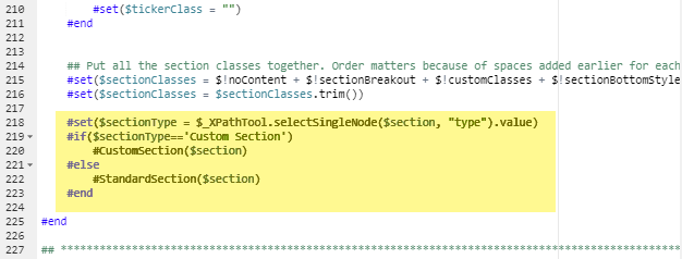 custom section new code
