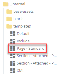 standard page template in folder tree
