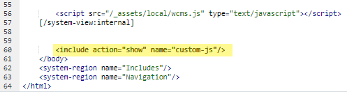 code for custom section at the bottom of template