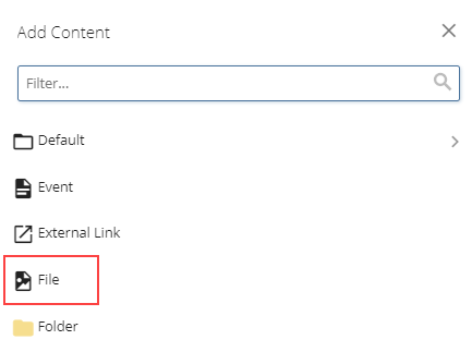 add content and file selection