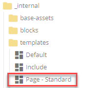 Page - standard template in the folder tree