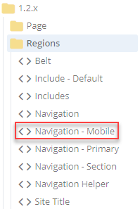 velocity regions navigation mobile in folder tree