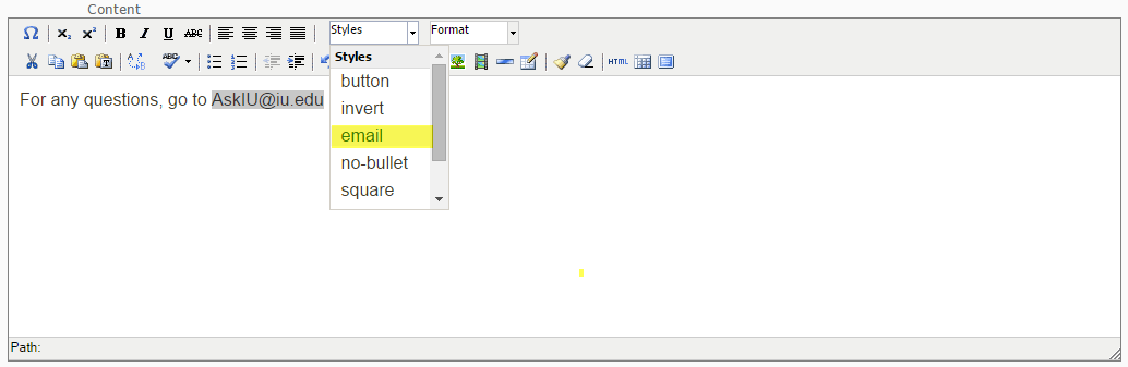 Highlighting email as the style type in dropdown menu