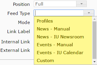 dropdown menu for the feed types