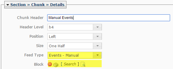 Manual events feed type and block