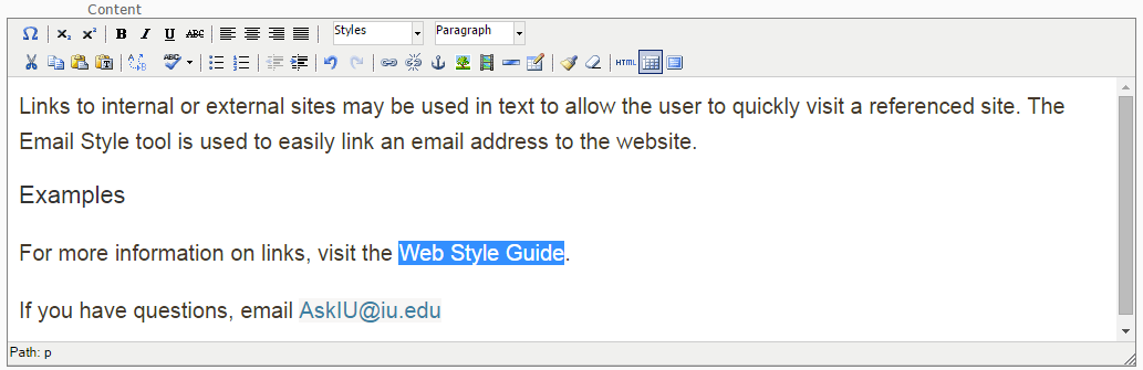 "Highlight the text ""Web Style Guide"""
