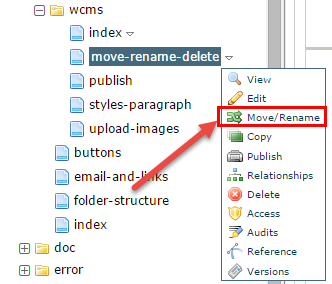 Select Move/Rename using the lefthand navigation