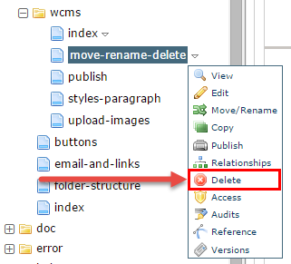 Selecting delete from the file hierarchy