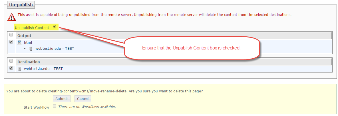 Ensure the unpublish content box is checked