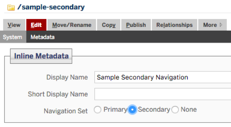 secondary navigation example