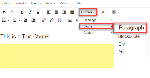 Format >> Blocks >> Paragraph selection