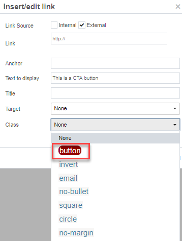 selecting the class of button in the drop-down menu