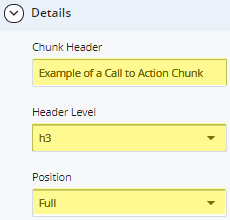 call to action chunk header and header level fields
