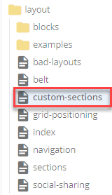 page to which custom section block will be added