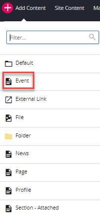 add content and event selection