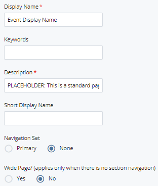 display name and description fields