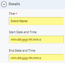 event details title, start date and end date