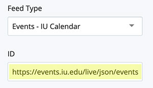 IU Calendar feed chunk with IU Calendar URL highlighted