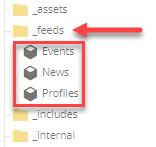 feed list in the folder tree