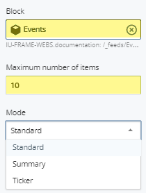 selected feed block and maximum number of items