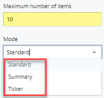 maximum number of items and mode selection