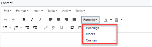 headings, blocks, and columns selections under formats menu