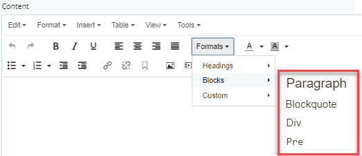 selections in block dropdown