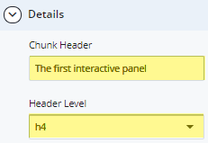 interactive panel chunk header and header level