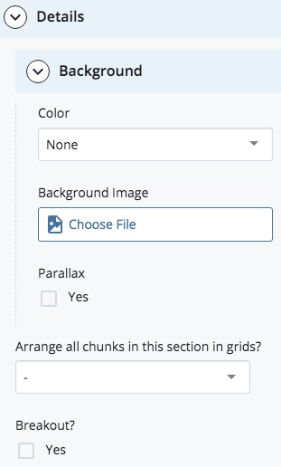 section color, background, and grid fields
