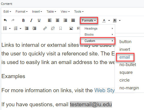 formats > custom > email selection