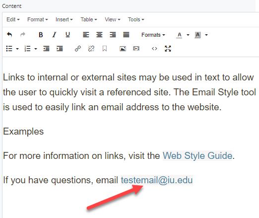 linked text for email