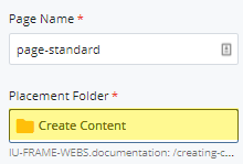 new page placement folder field