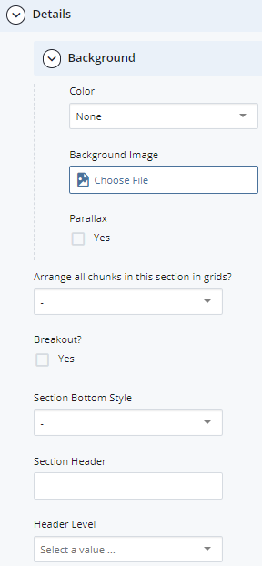 section >> Details >> Background fields