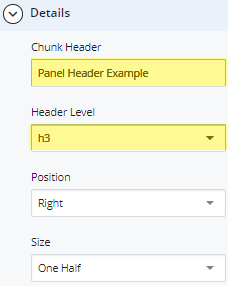 new panel header and heading level fields