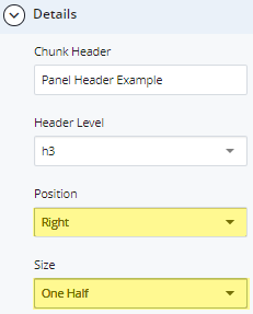 panel position and size