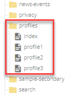 profile list in folder tree