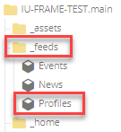 location of feed block in folder tree