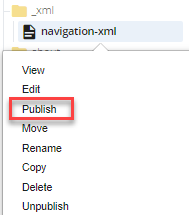 publish navigation option from folder tree