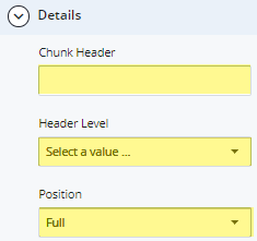 chunk header, header level, and position fields