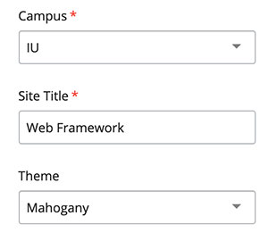 Campus, Site Title and Theme sections of the Settings block.